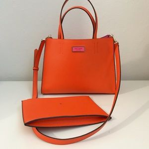 Kate Spade Leather Sam Handbag Orange NWOT